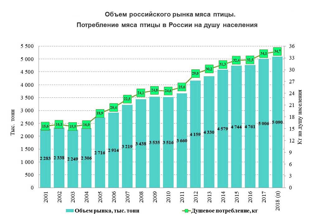 Динамика потребления мяса птицы в России на душу населения относительно объемов производства